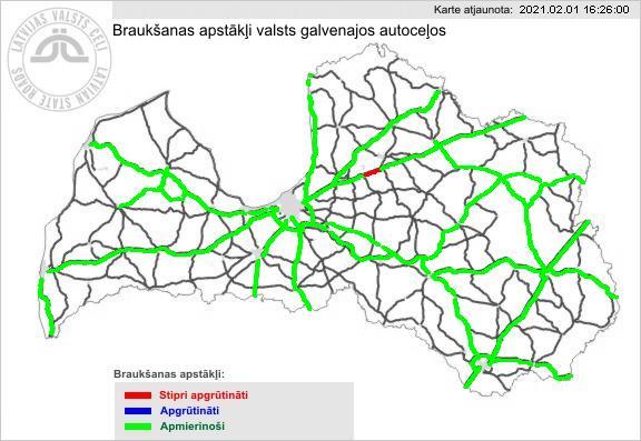 Braukšanas apstākļi Latvijas galvenajos ceļos